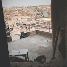 初めてのトルコ2019.4 カッパドキア ギョレメのホテル 部屋のテラスから