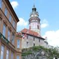 チェスキークルムロフ城の塔。  高さ54m筒状の塔には中に階段があり、 登った先から眺めることができる町並みはとても美しい!  2019.5.2