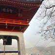 広島県 千光寺 たまたまバックに虹が見えました。