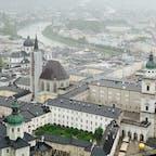 オーストリア ザルツブルク城 あいにくの雨だけど、いい景色(^^) 2019.4.30