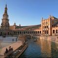 Plaza de España スペイン広場 Sevilla セビリア Spain スペイン 半円形の建物にはスペイン各地の地名が描かれたタイルが貼られていて、それを見るのもまた楽しい