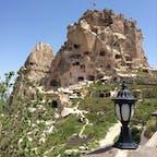 カッパドキアのウチヒサール城 頂上からはカッパドキアが一望出来る絶景ポイントです
