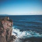 崖の先に広がる広い海 伊豆城ヶ崎海岸 *0213