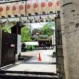 2019年7月、難波八阪神社にて。奥の大きな獅子が口を開けて、開運や勝利を呼び込んでくれます。お祭りが近いのか、大きなお神輿も並んでいました。