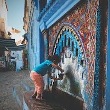 モロッコ シェフシャウエン 街の水飲み場