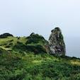 黒崎半島にある 猿岩 ・・玄武岩です。 きれいな海をお猿さんが 見守っているようでした。