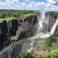 ビクトリアの滝 乾期だと水量も少なく観光もしやすいです。