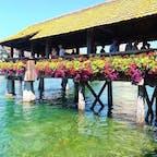 いっぱいの花でドレスアップされてる昼間のカペル橋。スイス・ルツェルンのメインスポットです。