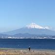 焼津から、駿河湾越しに見えた富士山。今年の初冠雪は、いつかな?