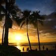 ハワイ ワイキキビーチの夕焼け
