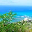 ハワイ  ダイヤモンドヘッド 暑さ以外は基本的に楽な登山。頂上から見下ろした海が青くて最高!