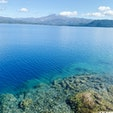秋田県 田沢湖 日本一深い湖だそうです。 コバルトブルーに澄んだ湖には川魚がたくさん泳いでいるのが見れました! とても透明度が高いです(^ ^)