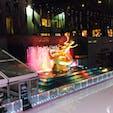 New York / Manhattan Rockfeller center 雨の日のロックフェラーセンターのスケートリンク。
