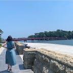 #福浦橋 #松島 #宮城 2019年7月  青い空、青い海、青いワンピース👗 福浦橋だけが赤くて綺麗...🥺🥺