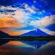ゴールデンウィークに精進湖へ! 朝5:30の富士山。