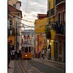 高低差のあるリスボンではケーブルカーが大人気! ケーブルカーやトラムはリスボン観光のハイライト、鮮やかなオレンジ色の車体は街に色を添えます。 #リスボン #ポルトガル