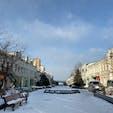 11月の噴水通り@ウラジオストク ロシア  雪のため、 噴水完全ストップ…残念…