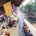 ダムヌァン・サドゥアック:ディ-プな魅力の水上マーケット。11時頃からは船が大渋滞します∑(゚Д゚)