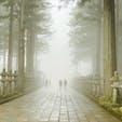 和歌山高野山 霧がかぶって幻想的でした。