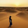モロッコ🇲🇦のサハラ砂漠 ラクダに乗って朝日鑑賞