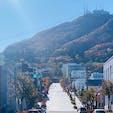 八幡坂を下から眺める 人力車からの撮影  坂の上の大きな山は 函館山です⛰