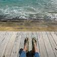絵に描いたような写真。 小笠原のビーチにて。
