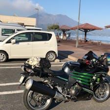 大隅半島の道の駅垂水より 桜島を眺める。 ここは、足湯もあります😆