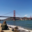 ゴールデンゲートブリッジ🌉 🚲で渡りました。橋のたもとまでの登り坂はつからったけど、橋の上はカラッとした晴天で気持ちよかったです。 帰りは、自転車ごと乗れる🚢を使いました。また行きたいなぁ