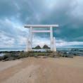 糸島にある【桜井二見ヶ浦の夫婦岩】  お天気はあいにくのドン曇☁️ 次は、暖かい時期にきたいな♪♪♪