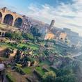 ローマ🇮🇹 フォロ・ロマーノとコロッセオ  パラティーノの丘からの眺めです。タイムスリップした気分になります⏳