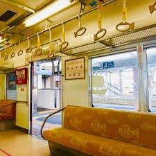 和歌山駅 めでたい電車 中はこんな感じ。外だけでなく、中も鯛尽くし。