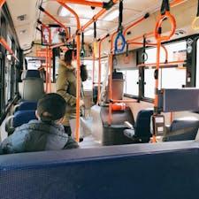 ソウル 明洞 173番バス つり革が 色とりどりです。 明洞からこのバスに乗れば 一本で 広蔵市場や東大門に行けます。 10分くらいかな、、。地下鉄の乗換が面倒な時は お勧めします。