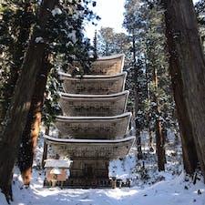 山形県 五重塔 雪と凍った階段を苦労して登り下りした甲斐がありました〜〜!