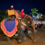 プーケットファンタシーの園内を人を乗せて歩く🐘けっこう歩くのが速くて写真がブレる。値段が高かったので結局乗りませんでしたが、人を乗せた象が広場をウロウロしてるのでそれを眺めるだけでも楽しい👀