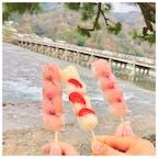 京都 嵐山 ~渡月橋~ ~寺子屋本舗嵐山店~ 渡月橋を眺めながら美味しいお団子が食べられます*゚  #団子 #寺子屋本舗 #嵐山 #渡月橋 #京都
