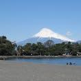静岡県沼津市大瀬崎から見た、駿河湾と富士山。砂利浜なので歩きづらいけど、水の透明感は抜群でした。