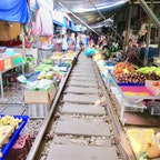 Maeklong Market, Thailand🇹🇭 close to the railroad😮