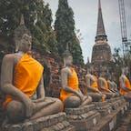 Wat Yai Chai Mongkon, Thailand🇹🇭 many statue of Buddha