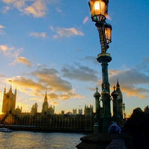 イギリスロンドンの夕景。