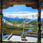 北インド、ラダック。シェイ村のシェイパレスの上から。