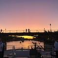セーヌ川の向こうに沈む夕陽  定番のセーヌ川クルーズ。昼間か暗くなってからのクルーズしか知らなかったのですが、夕陽がこのように見えるんだと少し感激しました。とある集まりのディナーで連れて来てもらいました。
