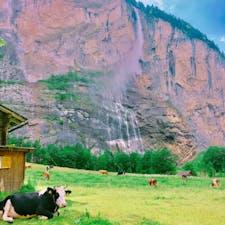 Lauterbrunnen Swizerland 崖に囲まれてる町。72個の滝。 滝の音とカウベルの音が心地よい。 静かで、小さくて、お気に入りの町。