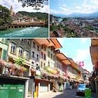 スイス トゥーン トゥーン湖をクルージングし、インターラーケンからトゥーンへ。トゥーンはスイスで11番目の都市とあって賑わいつつも、旧市街や古城があって趣のある街でした。 地元の人は街中を水着で歩き、川にダイブ!  前日、ユングフラウヨッホからの帰り道に転倒し前歯を折ったための予定変更でしたが、それも今は良い思い出、か??
