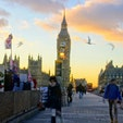イギリス、ロンドン。ビッグベンの夕景。