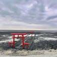 佐賀県太良町の大魚神社の海中鳥居 干満の差が5メートル以上ある有明海の干潟に有る鳥居  満潮時には殆ど冠水してしまいます 神秘的なホットスポット