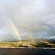 降水量世界一のレユニオン島のダブルレインボー。