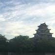 夕暮れの広島城。 うしろから。