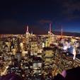 ニューヨーク TOP OF THE ROCK🌟 エンパイアが見たくてロックフェラーセンターの展望台を選びました。 3月だったから風が強くて寒かったけど、夜景が綺麗すぎてずっと見ていられたな〜😌
