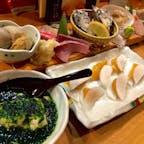 【新橋】魚金  *お刺身盛り合わせ *青海苔豆腐 *挟みからすみ  お手頃価格で魚介が食べられるお店。 ぜんぶ美味しかった。  #東京° #東京グルメ° #新橋 #魚金 #2020/01