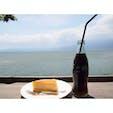 琵琶湖を見渡すことができる、シャーレ水ヶ浜。 テラス席と室内の席がありました。